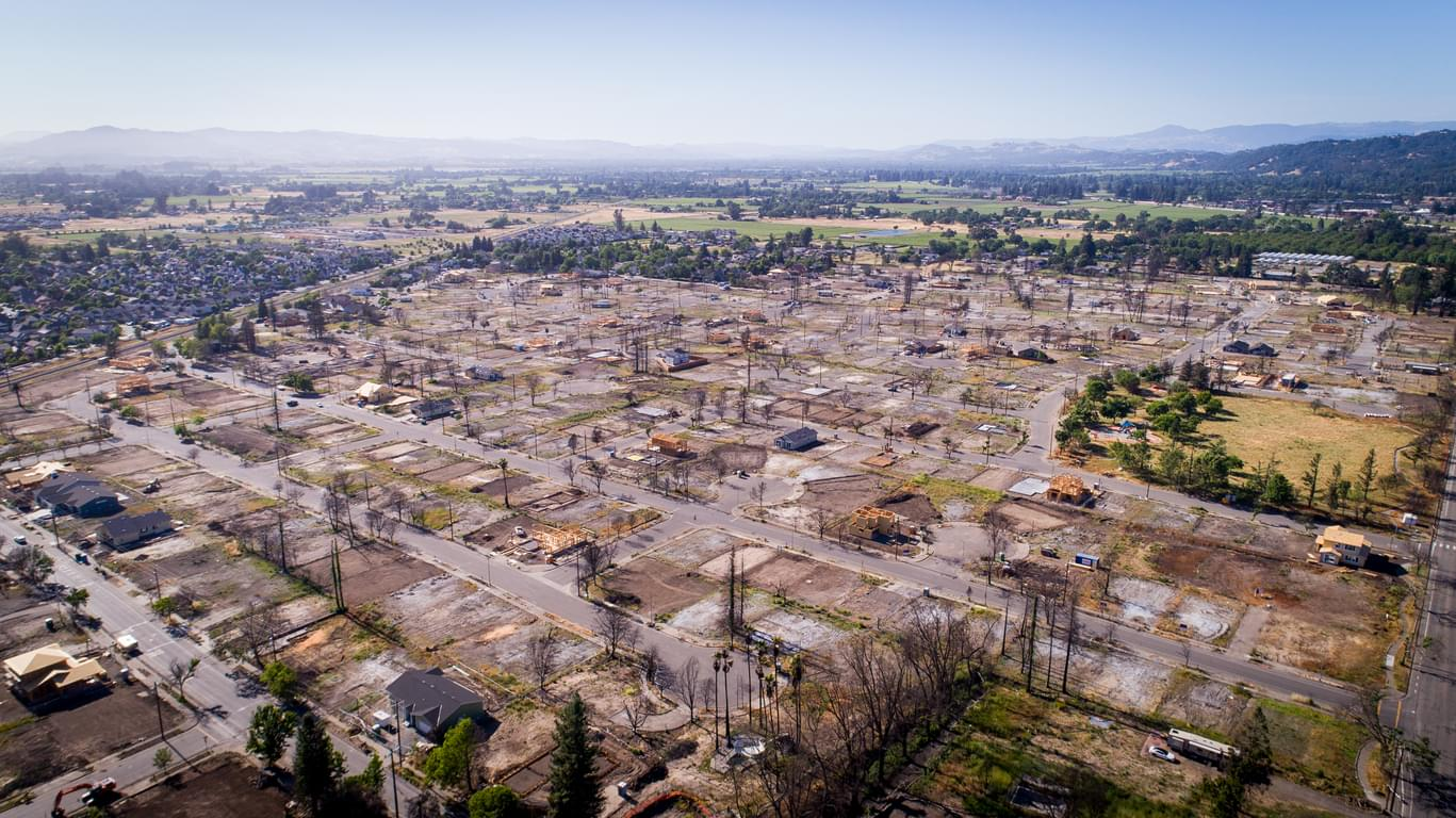Burnt Houses in Santa Rosa, California
